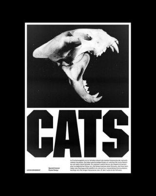 Cat Skull Black and White Poster Design