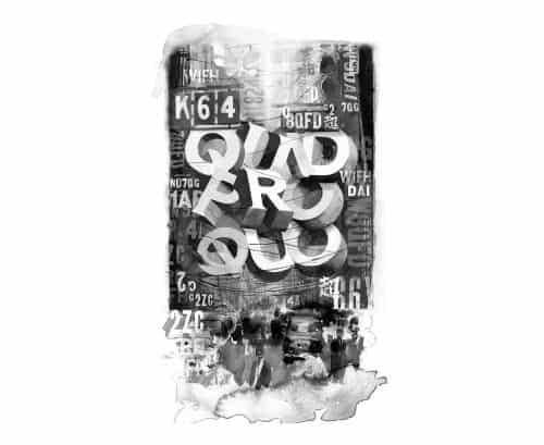 Glenn Wolk – Black and White Water Color Painting Style Designs – Quid Pro Quo Typog ...