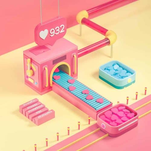 3D Illustrations by Sariselka – Like Heart Assembly Line Machine
