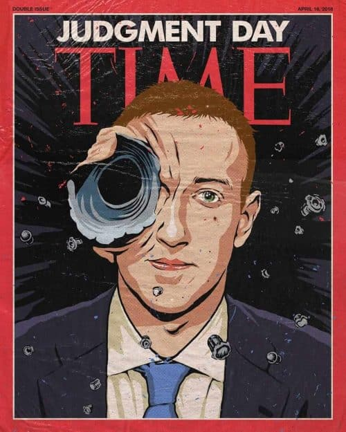 Time Magazine Illustrated Cover Design | Mark Zuckerberg x Terminator
