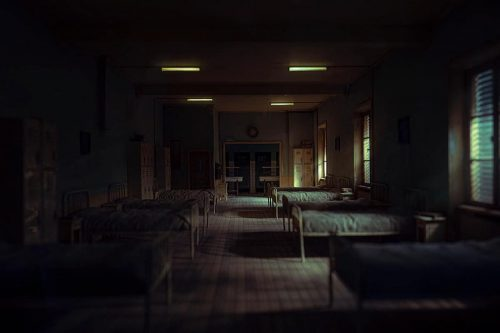 Miniature Model Photography | Dark Little Hospital Infirmary with beds | Shot with the Leica L9  ...