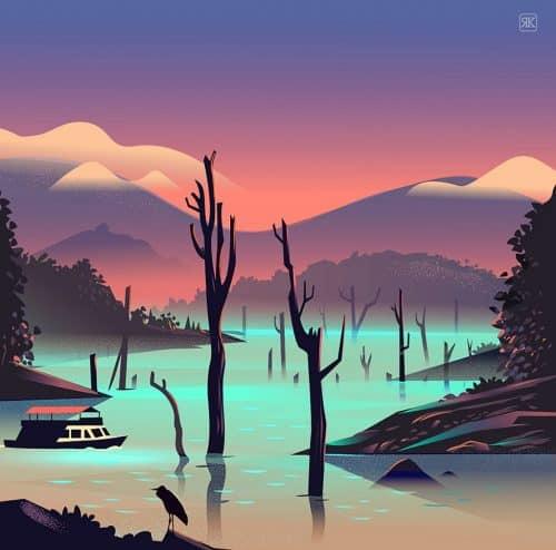 RANGANATH KRISHNAMANI – Illustrations – Bangalore, India – Nature River