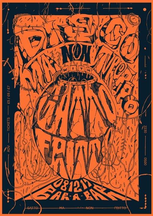 Graphic Design – Al White – Typographic Concert Poster – Disco Ma Non Troppo