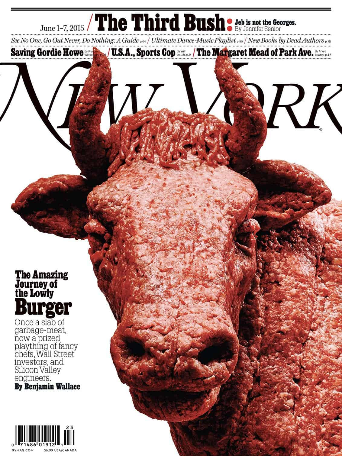 Jody Quon Magazine Cover Designs for New York Magazine – Burger Meat Bull Sculpture