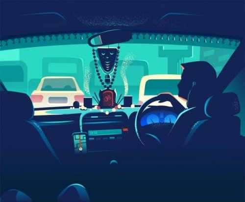 RANGANATH KRISHNAMANI – Illustrations – Bangalore, India – Taxi Cab in Traffic