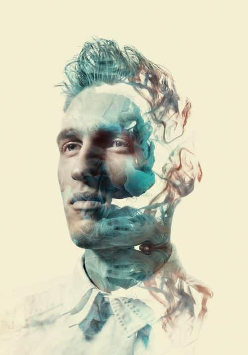 Photo Manipulation – Alberto Seveso – Oil on Head – ink in water silhouette