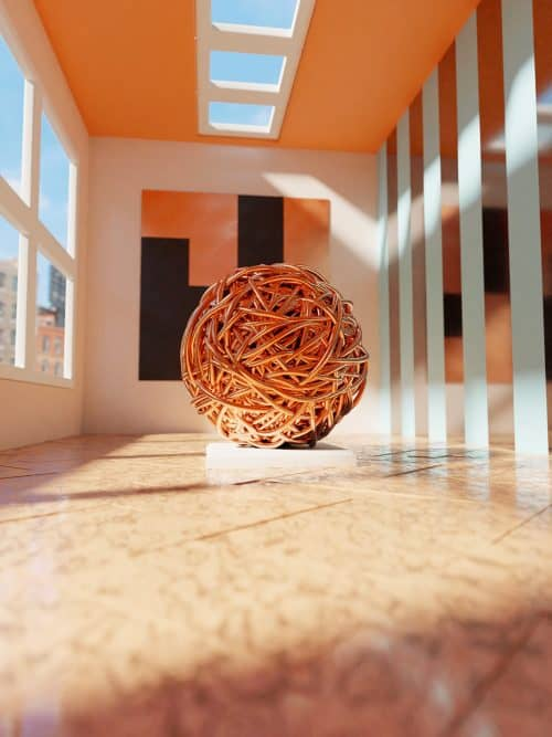 David Glissman – 3D Metal Yarn Ball Render