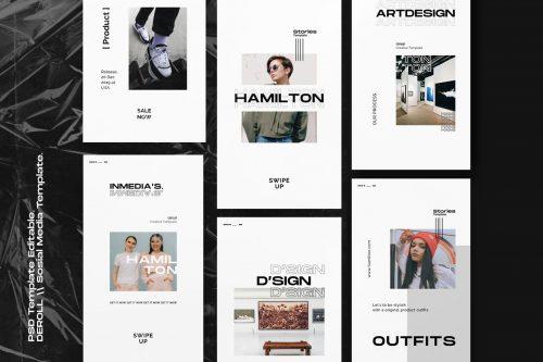 Hamillton Instagram Social Media Graphic Design Minimal Editorial Template