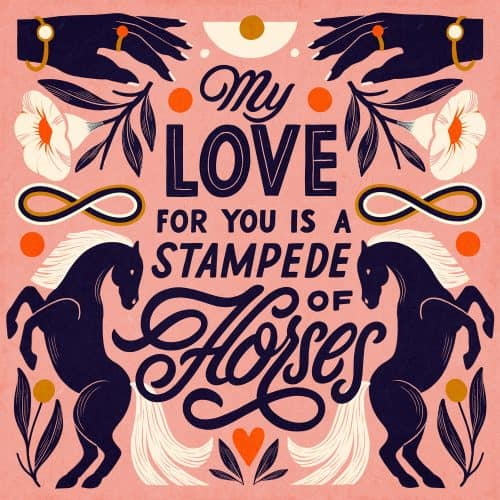 Illustrations by Carmi Grau – my love for you is a stampede of horses