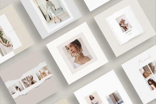 Minimal Instagram Social Media Template – Collage and Tears