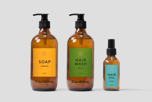 Branding – Kandima – Shampoo, Hair wash, Soap bottles – packaging design