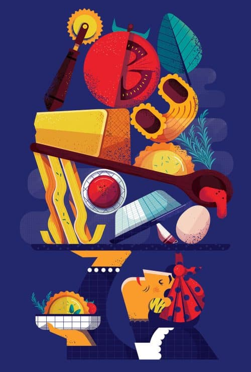 Barilla Pasta World Championship Food Illustrations