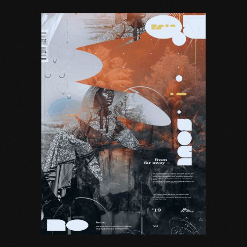 Graphic Design | Abstract Vibrant Brutalist Style Mixed Media Posters – From Far Away