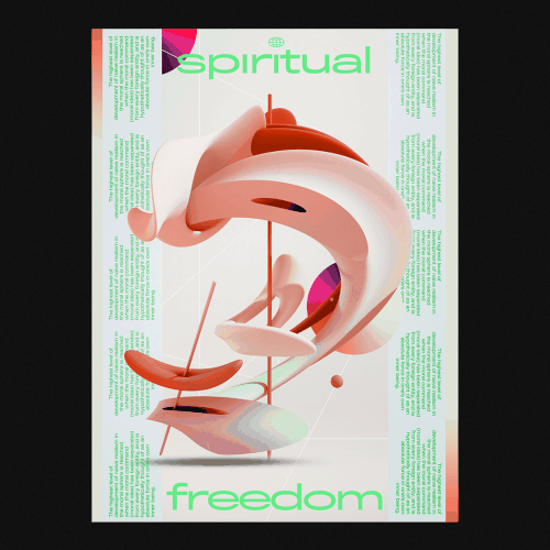 Graphic Design | Abstract Vibrant Brutalist Style Mixed Media Posters – Spiritual