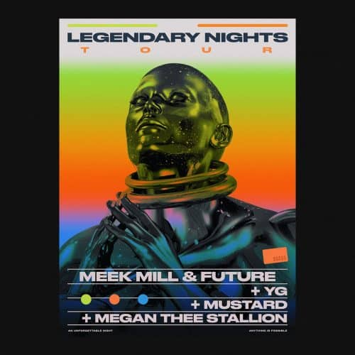 Graphic Design | Abstract Vibrant Brutalist Style Mixed Media Posters – Legendary Nights Tour