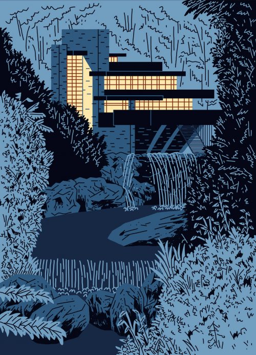Illustrations by Jeremy Perrodeau – a modern home in the forest