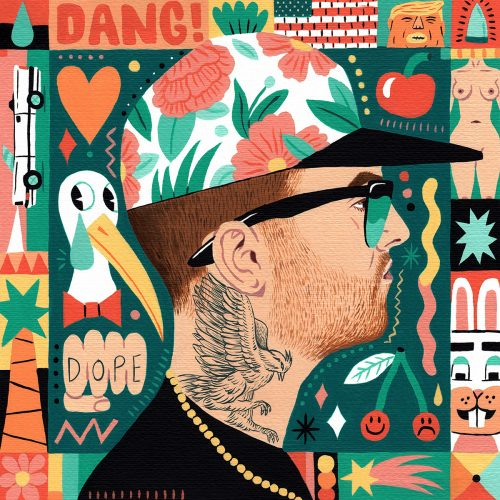 Saddo – Favorite Rapper Portraits Mosaic Collage Illustration – Mac Miller