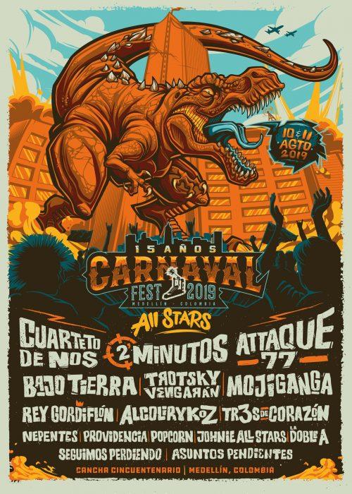 Juan Villamil – Illustrated Music Concert Festival Posters – Dinosaur