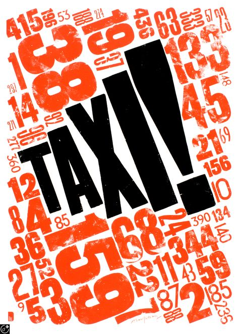 Modern Minimal Brutalist Typographical Design Posters – Taxi