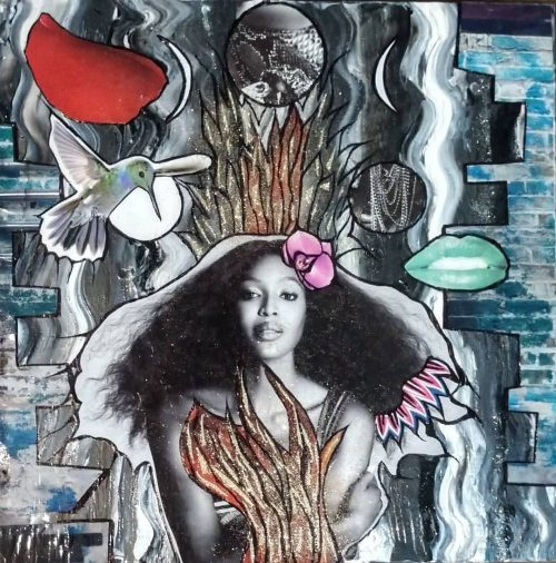 Ginger Lou Mixed Media Collage Style Art