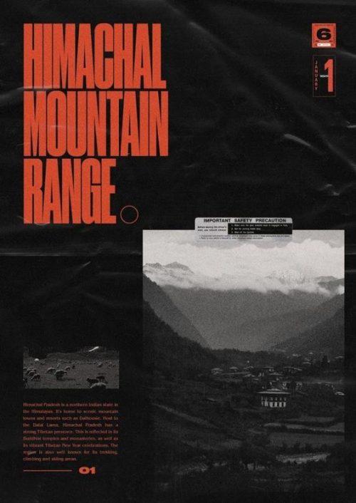Modern Minimal Brutalist Typographical Design Posters – Himachal Mountain Range