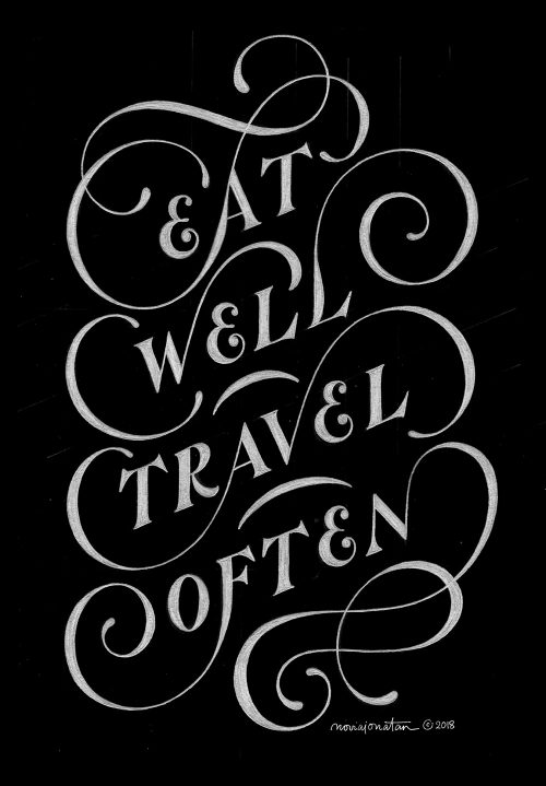 Black and White Daily Lettering – Typographic Motivation – Eat Well Travel Often