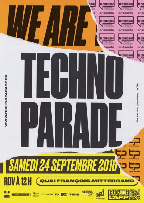 Modern Minimal Brutalist Typographical Design Posters with tears – We Are Techno Parade