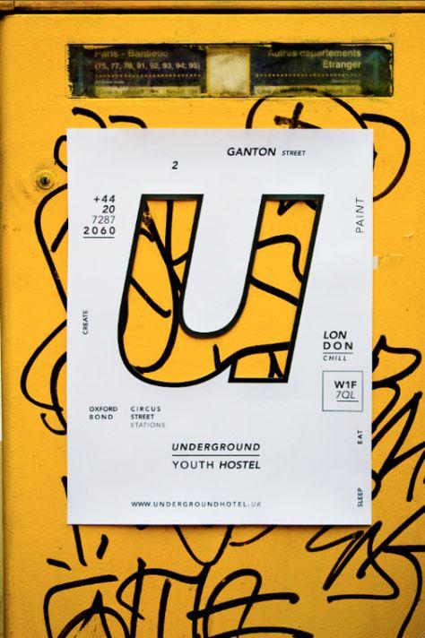Modern Minimal Brutalist Typographical Design Posters – Underground Youth Hostel