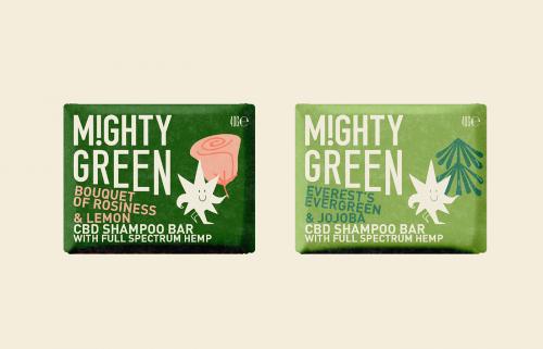 MIGHTY GREEN CBD Shampoo Packaging Design