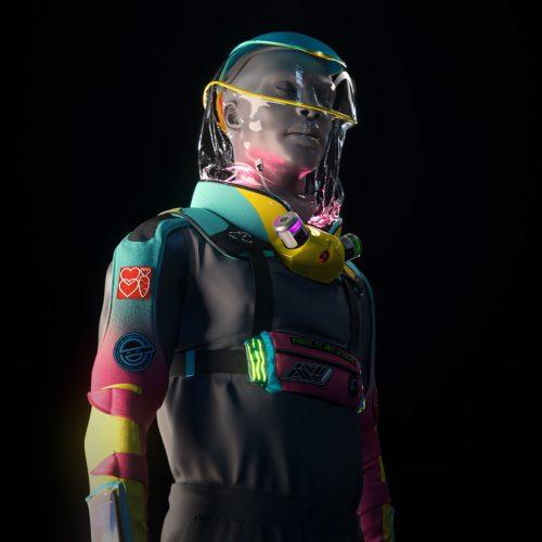 Micrashell Futuresuit Vaporwave Retro Future Hazmat Suit 3D Design