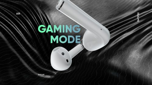 3d futuristic realme buds air ear phones 3D Style frames