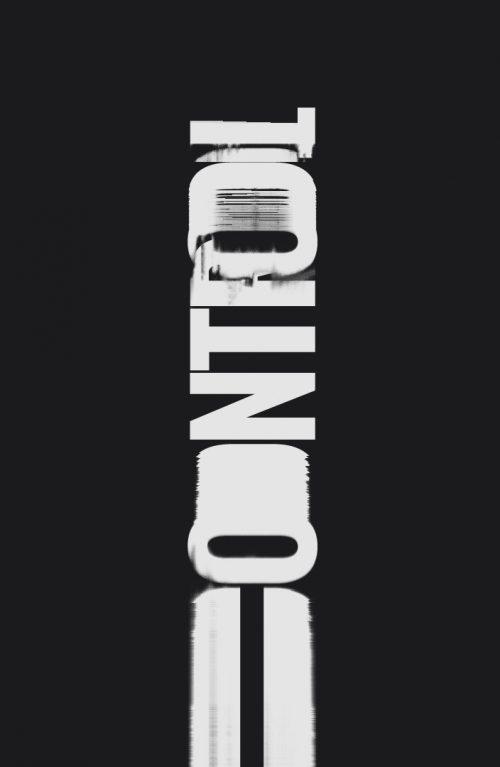 Control – grunge distressed glitch typography design