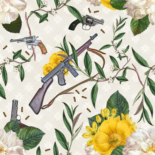 Trigger Happy Floral Guns Wallpaper Pattern Illustrations