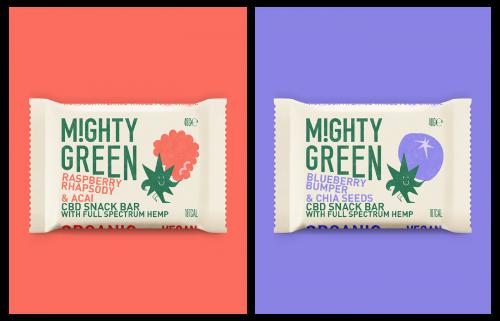 MIGHTY GREEN CBD Snack Bar Food Packaging Design