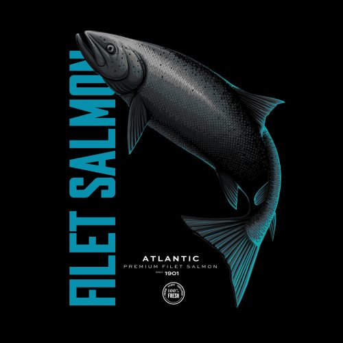 Atlantic Premium Fish Dark Minimal Poster Design – Filet Salmon