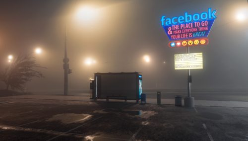 Antisocial Social Media 3D Night Renderings – Facebook
