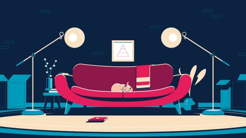 Illustrations by Colin Hesterly – Cat on a sofa at home