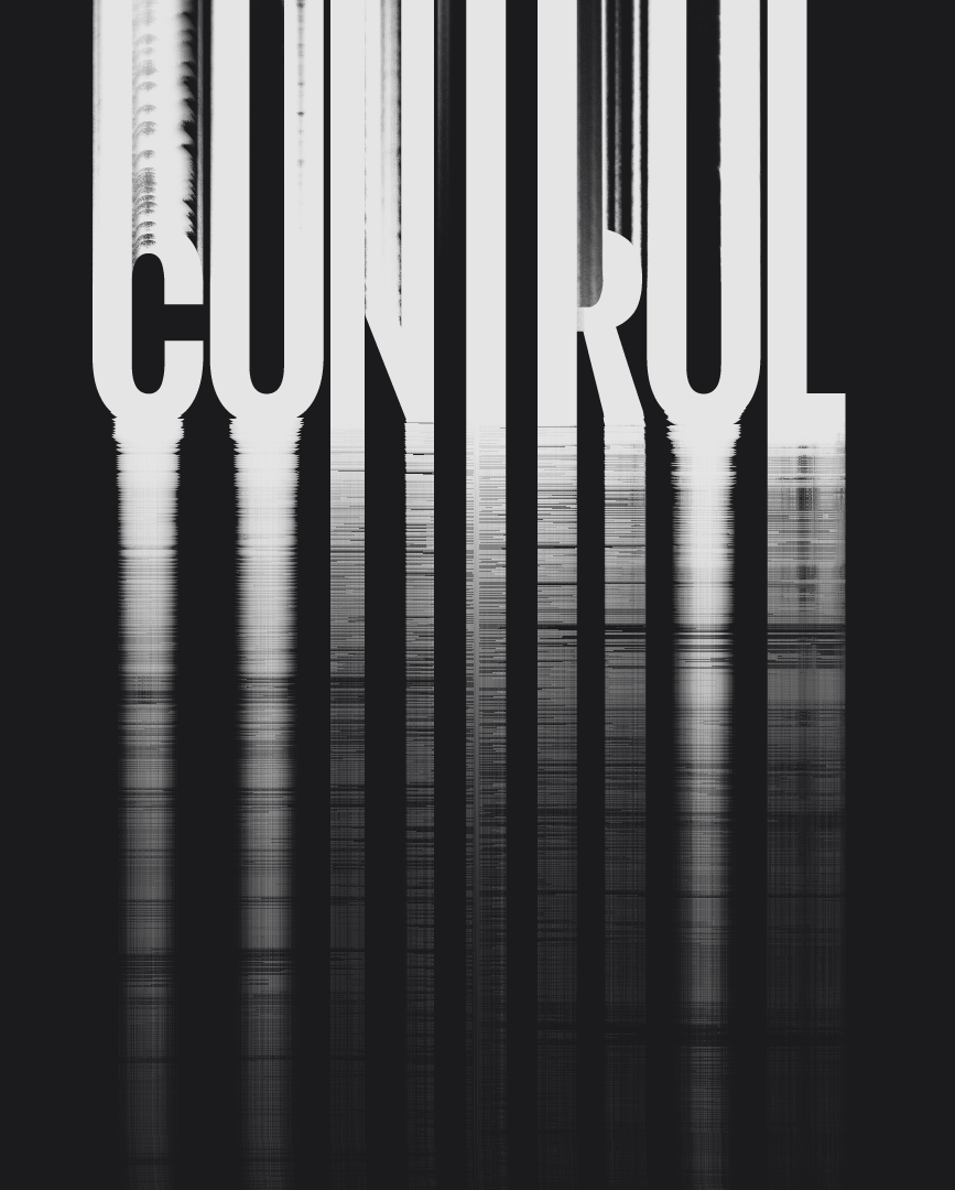 Control – grunge distressed glitch typography design