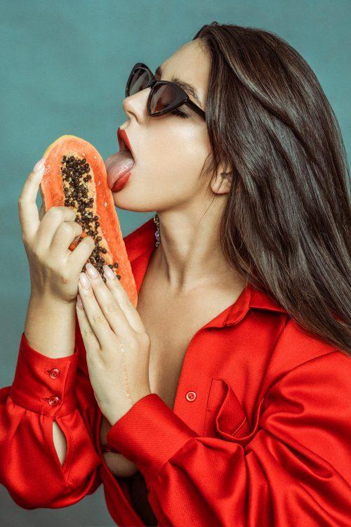 Delicious Sexy Erotic Food Porn Model Photography – Papaya Lick