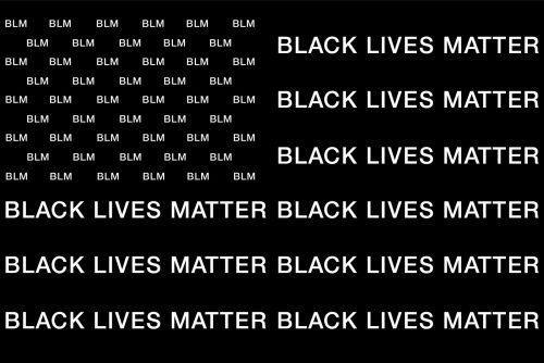 Black lives matter BLM Black and White American Flag Typographic Design