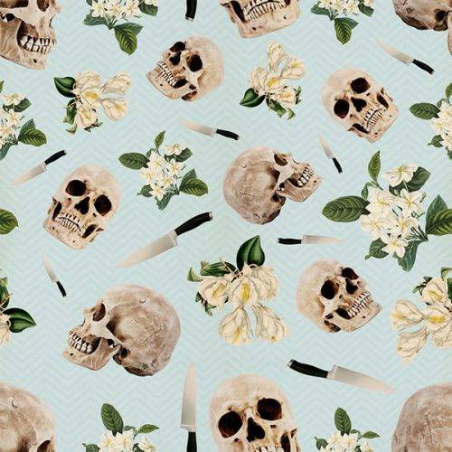 Hamlet Floral Skull Knife Wallpaper Pattern Illustrations