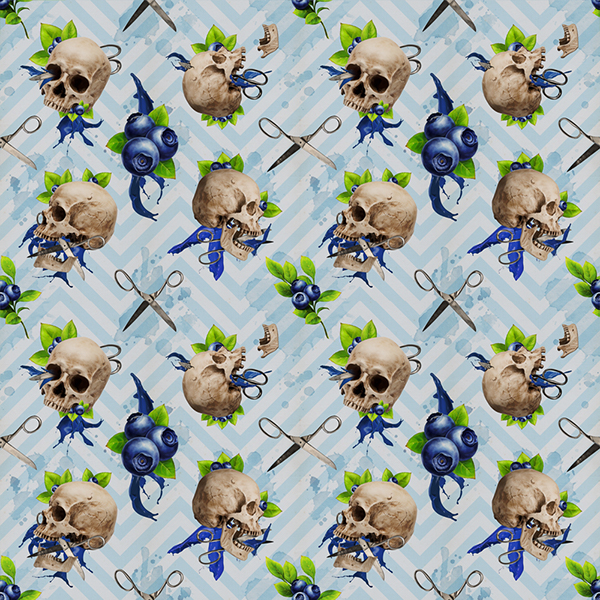 Floral Scissor Blue Berry Floral Guns Wallpaper Pattern Illustrations