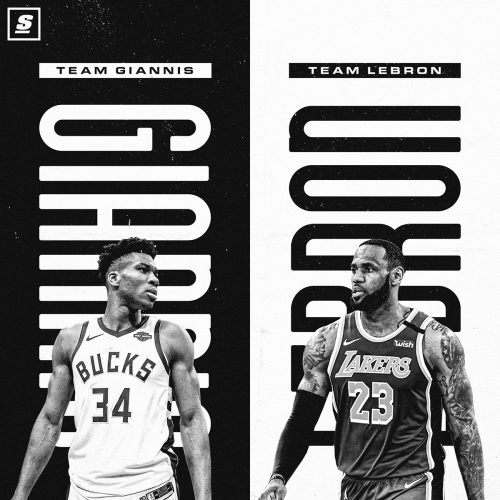 Matt Cohen – NBA Sports Posters – Giannis vs Lebron Team Posters