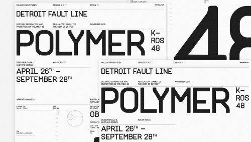 Detroit Fault Line Polymer Black and White Typographic Poster Design