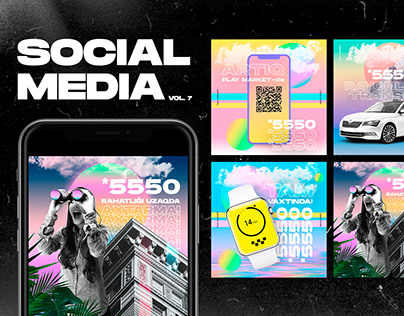 Hyper point Social Media Brutalist Modern Campaign Templates