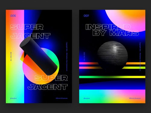 David Glissmann Geometric Monument — Poster Series Chpt. I Gradient Vaporwave – Mars