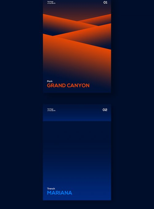 Heritage of the Earth Minimal Gradient Book Covers and Poster Design