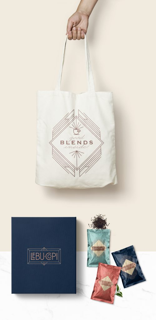 Art Deco Minimal LEBU COPI Tea product branding & packaging design