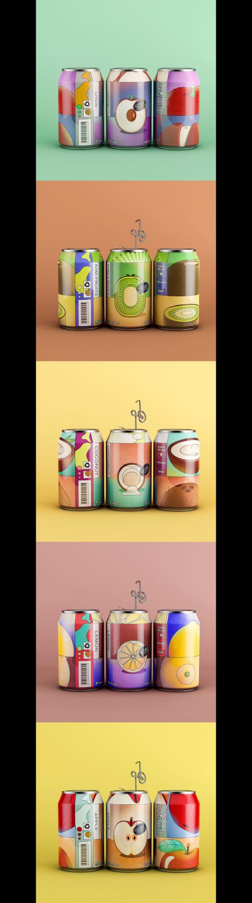 Nature Juice All Natural Fruit Beverage Can Product Packaging Design