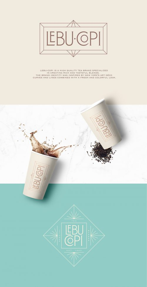 Art Deco Minimal LEBU COPI Tea product branding & packaging design